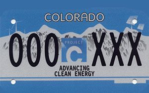 Colorado Carbon Fund clean energy license plate example graphic